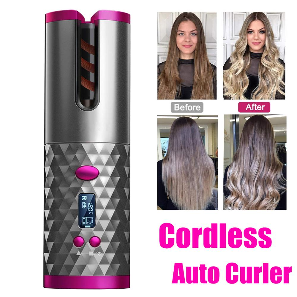 Professional Automatic Ceramic Hair Curler, USB Rechargeable and Power bank